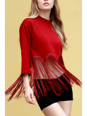 Tassels Spliced Stand Neck 3/4 Sleeve T-Shirt - Red