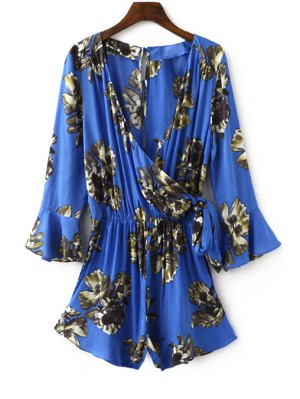 Flower Print Plunging Neck Lartern Sleeve Romper - Sapphire Blue