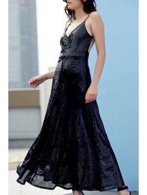 Backless Sequins Spaghetti Strap Maxi Dress - Black