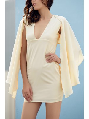 Bodycon Plunging Neck Cape Sleeve Mini Dress - Off-white