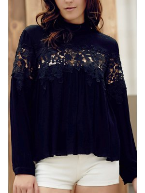 Lace Spliced Stand Collar Long Sleeve Black Blouse - Black