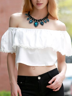 Off The Shoulder Flounced Top - White