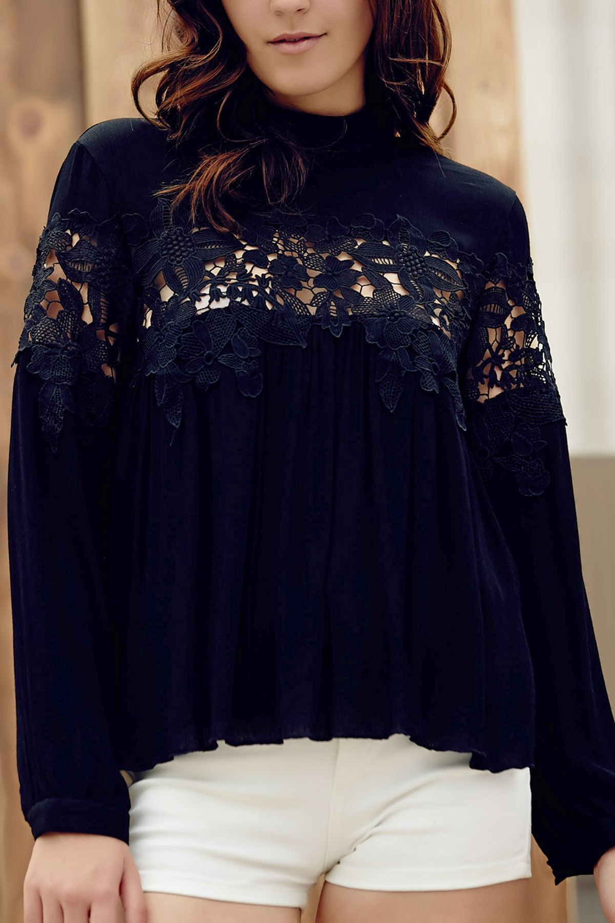 Lace Spliced Stand Collar Long Sleeve Black Blouse 171264305