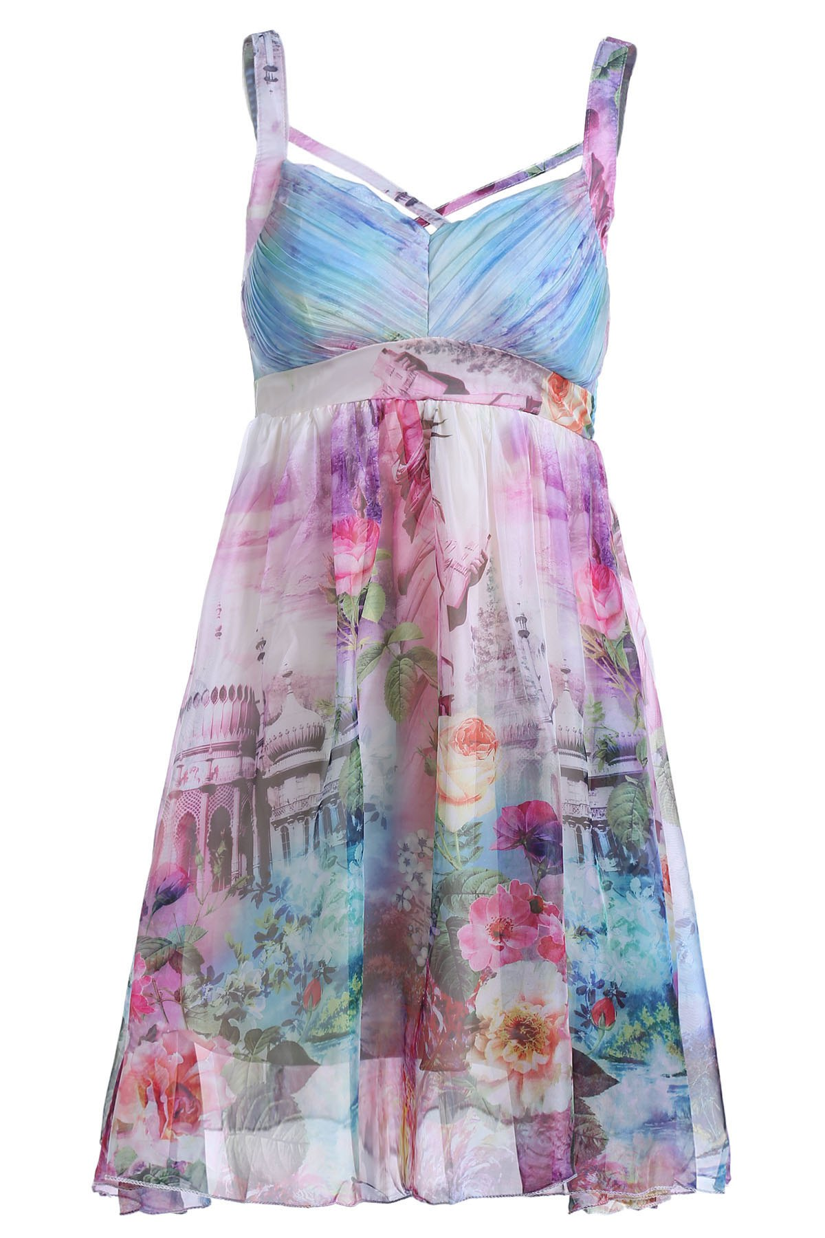 Floral Print Cami Pleated Dress, Colormix