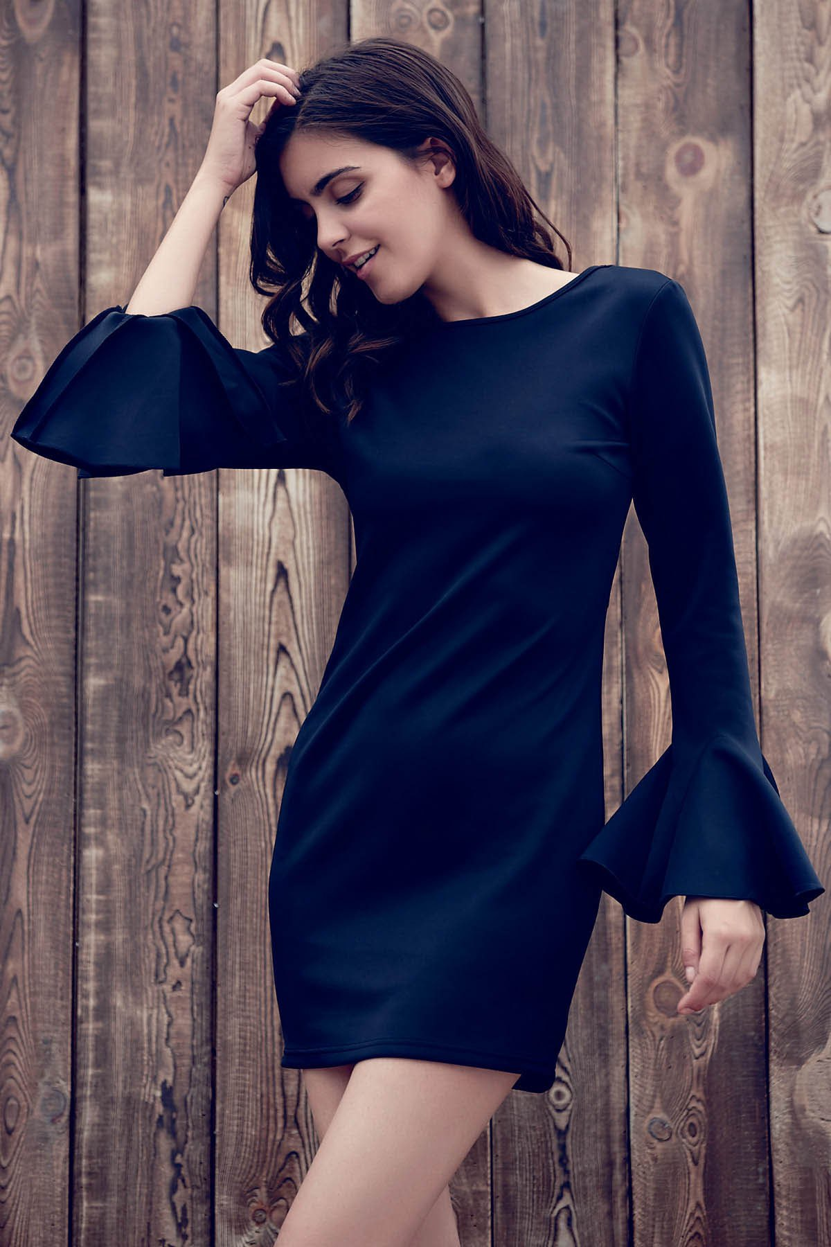 Slash Neck Flare Sleeve Low Back Black Bodycon Dress