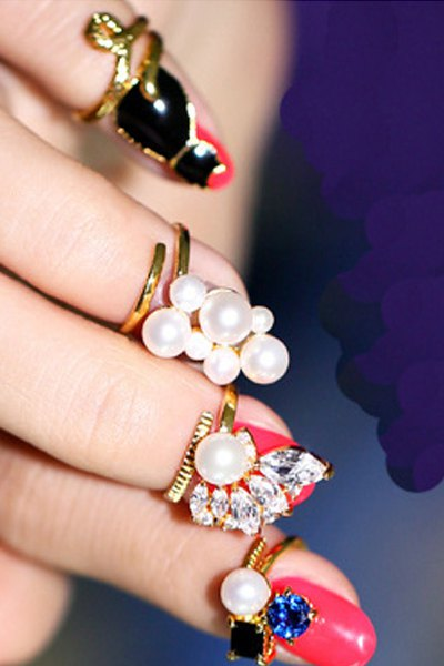 Rhinestone Faux Pearl Cat Alloy Rings