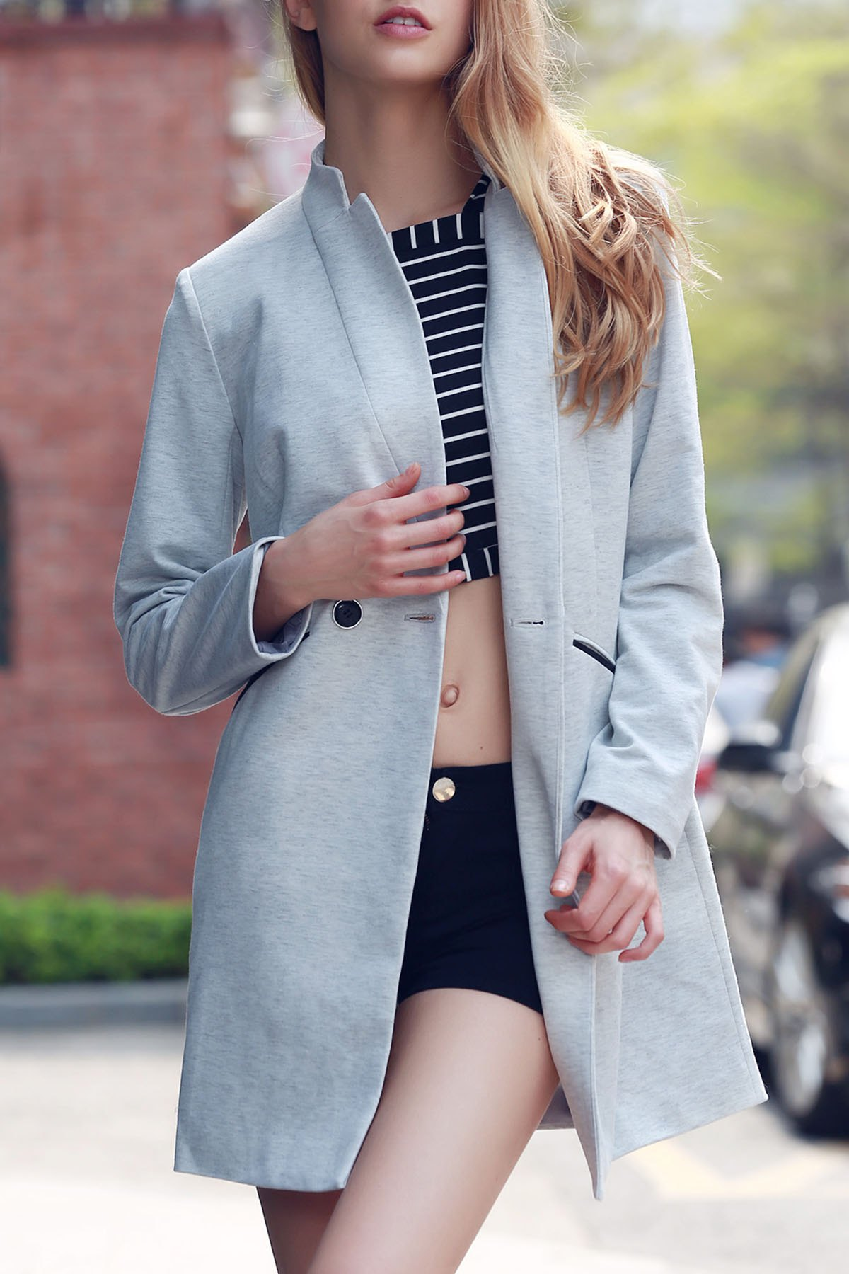 Stand Collar Long Sleeve Solid Color Coat