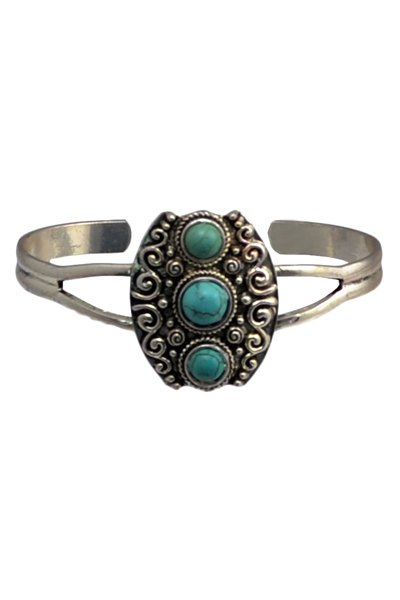 Turquoise Hollow Out Alloy Ring For Women