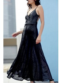 Backless Sequins Spaghetti Strap Maxi Dress - Black L