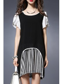 Stripe Spliced Round Collar Short Sleeve Chiffon Dress - Black 2xl