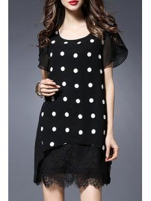 Polka Dot Round Collar Short Sleeve Lace Spliced Dress - Black 3xl