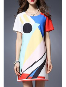 Color Block Round Neck Short Sleeve Dress