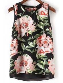 All-Fit Floral Print Round Neck Chiffon Tank Top