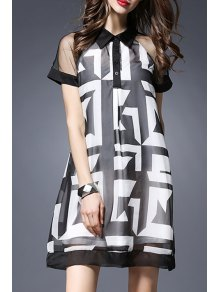 See-Through Flat Collar Short Sleeve Printed Dress