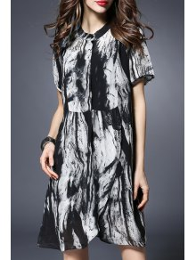 Printed Short Sleeve Loose Fitting Dress - Black 5xl