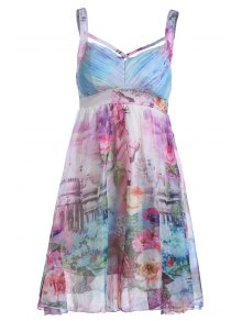 Floral Print Cami Pleated Dress