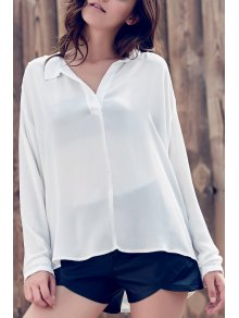 Loose Solid Color V Neck Long Sleeve Sheer Blouse