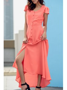 Cap Sleeve Single-Breasted Prom Dress