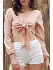 Buy Plunging Neck Long Sleeve Self-Tie Crop Top 2XL COMPLEXION