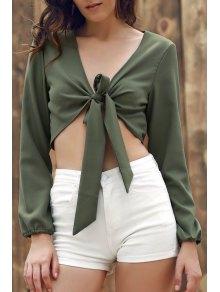 Buy Plunging Neck Long Sleeve Self-Tie Crop Top 2XL ARMY GREEN
