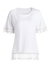 Buy Tassels Spliced Round Collar Half Sleeve T-Shirt - WHITE ONE SIZE(FIT SIZE XS TO M)