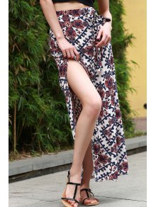 vintage print high waist high low skirt colormix skirts l