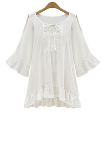 Ruffle Hem Cut-Out Blouse