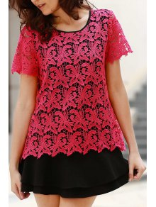 Lace Splicing Hit Color Round Neck Short Sleeve Dress - Rose L