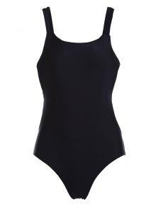Solid Color Square Neck One-Piece Swimwear - Black