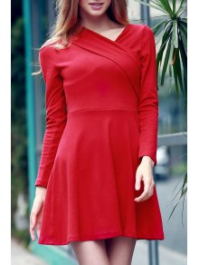 Solid Color Long Sleeve Crossed Dress - Red M