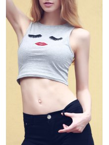 Cartoon Print Round Collar Tank Top