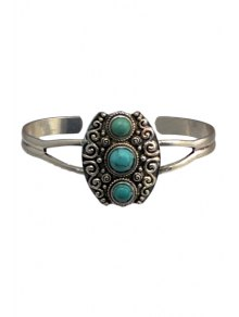 Turquoise Hollow Out Alloy Ring - Silver
