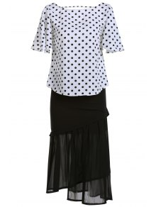 Polka Dot T-Shirt and Mermaid Skirt Twinset