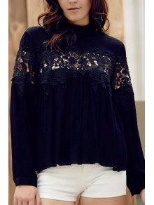 Lace Spliced Stand Collar Long Sleeve Black Blouse - Black Xl