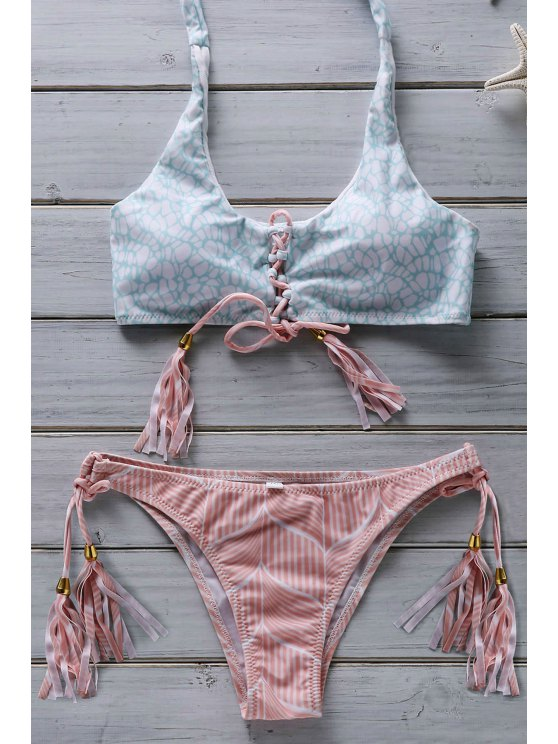 womens Flower Print Lace Up Bathing Suit - PINK S