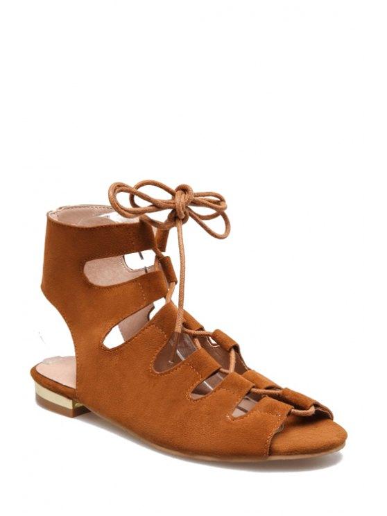 Cordones de las sandalias del dedo del pie del pío talón plano - Marrón 39