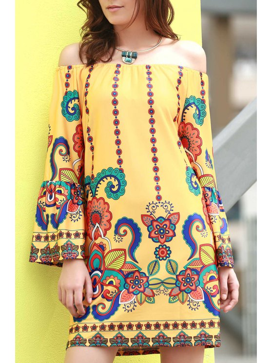online Floral Print Round Neck Flare Sleeve Dress - YELLOW 2XL