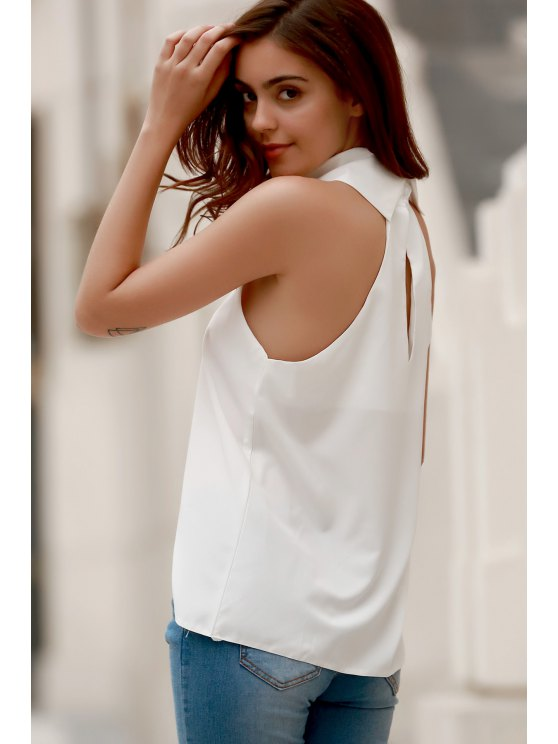 High Low Turtle Neck Sleeveless Tank Top - WHITE L Mobile