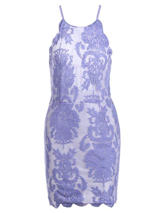 fancy Lace Embroidery Spaghetti Straps Dress - LIGHT PURPLE L