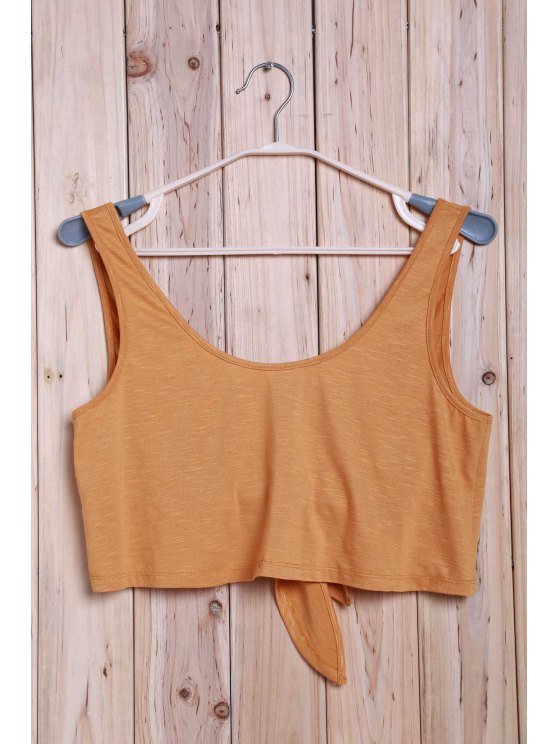 Tie Front Tank Top - GINGER ONE SIZE(FIT SIZE XS TO M) Mobile