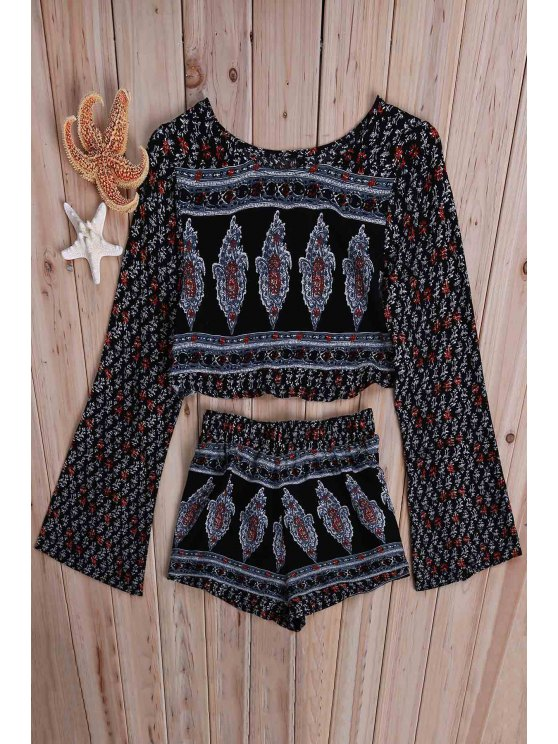 Printed Long Sleeve Crop Top + Shorts Twinset - COLORMIX XL Mobile