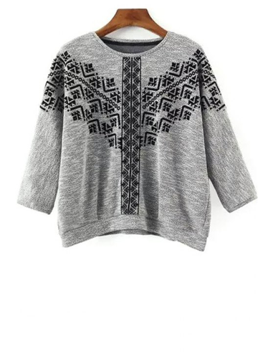 Col rond Broderie 3/4 Sleeve Sweatshirt - Gris S