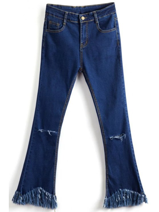 ladies Tassels Spliced Ripped Boot Cut Jeans - DEEP BLUE L