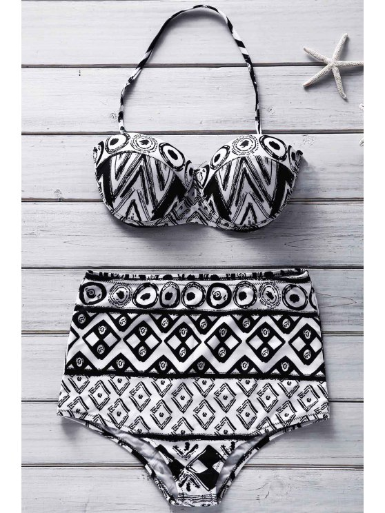Geométrica de impresión sin tirantes del bikini Set - Colormix L