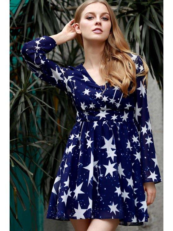 Pentagram Print V-Neck Long Sleeve Dress - BLUE 3XL Mobile