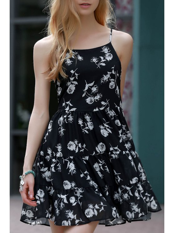 sale Floral Print Tiered Chiffon Swing Dress - BLACK 2XL