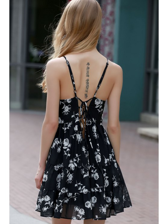 Floral Print Tiered Chiffon Swing Dress - BLACK L Mobile