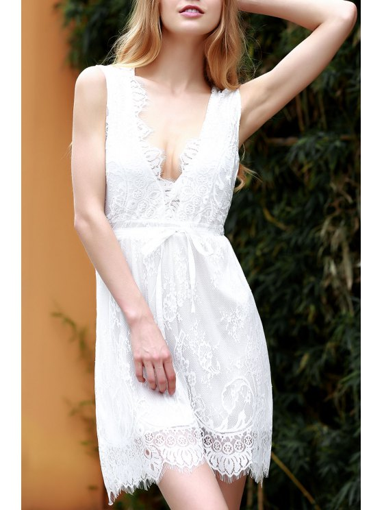 fancy White Lace Plunging Neck Sleeveless Dress - WHITE M