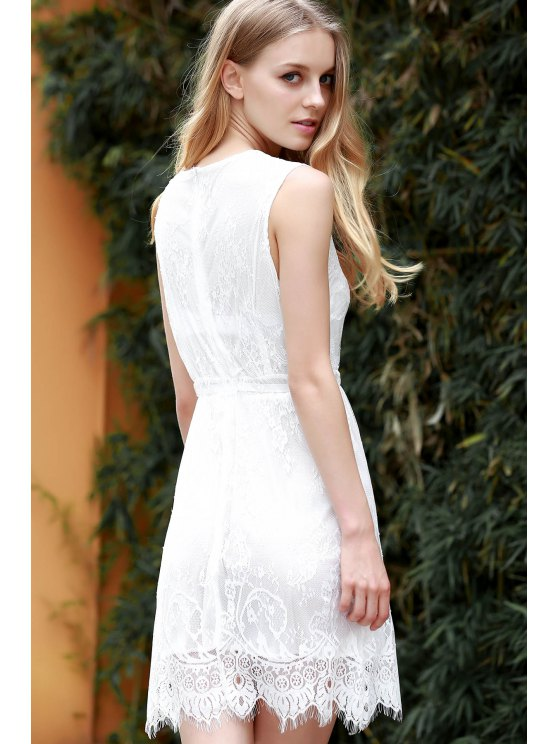 White Lace Plunging Neck Sleeveless Dress - WHITE M Mobile