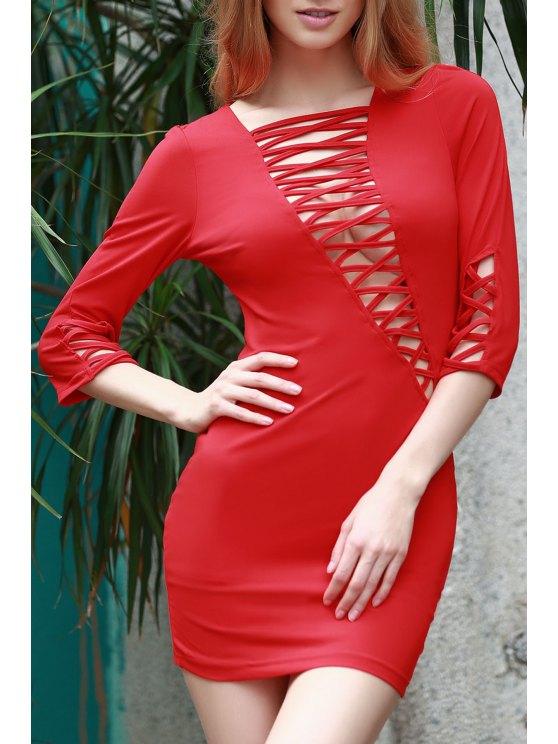 Con cordones de Bias Vestido ajustado de corte - Rojo XL